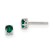 Sterling Silver 4mm Round Created Emerald Post Earrings QBE26MAY-Lex and Lu