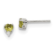 Sterling Silver 4mm Heart Peridot Post Earrings QBE27AUG-Lex and Lu
