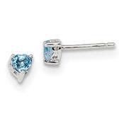 Sterling Silver 4mm Heart Swiss Blue Topaz Post Earrings QBE27DEC-Lex and Lu