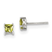 Sterling Silver 4mm Princess Peridot Post Earrings QBE28AUG-Lex and Lu