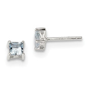 Sterling Silver 4mm Princess Aquamarine Post Earrings QBE28MAR-Lex and Lu
