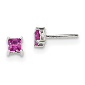 Sterling Silver 4mm Princess Created Pink Sapphire Post Earrings QBE28OCT-Lex and Lu