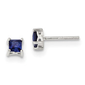 Sterling Silver 4mm Princess Created Sapphire Post Earrings QBE28SEP-Lex and Lu