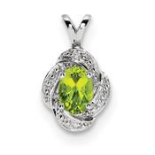 Sterling Silver Diamond & Peridot Pendant QBPD12AUG-Lex and Lu