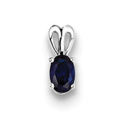 Sterling Silver Created Sapphire Pendant QBPD20SEP-Lex and Lu