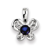 Sterling Silver Created Sapphire Pendant QBPD24SEP-Lex and Lu
