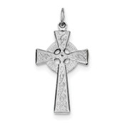 Sterling Silver Rhodium-plated Celtic Cross Pendant QC3368-Lex and Lu