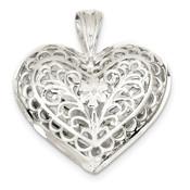 Sterling Silver Filigree Heart Charm QC579-Lex and Lu