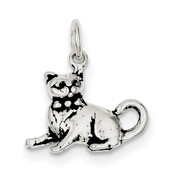Sterling Silver Antiqued Cat Charm QC7834-Lex and Lu