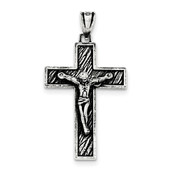 Sterling Silver Antiqued Large Box Cross Crucifix Pendant QC8295-Lex and Lu