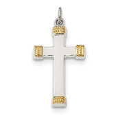 Sterling Silver & Gold-plated Polished Cross Pendant QC9047-Lex and Lu