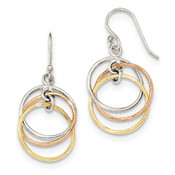 Sterling Silver 14K Gold & Rose Gold Vermeil Circles Dangle Earrings QE12113-Lex and Lu