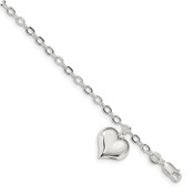 Sterling Silver Heart Charm Link Bracelet QG4265-8-Lex and Lu