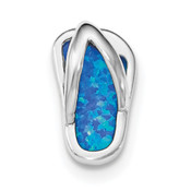 Sterling Silver Rhodium Created Blue Opal Flip-Flop Slide QP4287-Lex and Lu