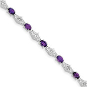 Sterling Silver Amethyst & CZ Bracelet QX139AM-Lex and Lu