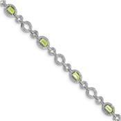 Sterling Silver Diamond & Peridot Oval Link Bracelet QX819PE-Lex and Lu