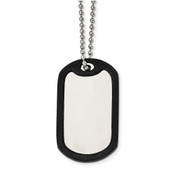 "Chisel Stainless Steel Brushed/Mirrored Removeable Black Rubber 24 inch Dog Tag Necklace SRN2375-24""-Lex and Lu"