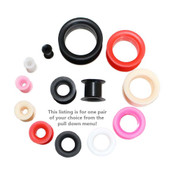 "Lex and Lu Pair of Soft Silicone Earskin Double Flare Tunnel Plugs 6G-1"" Gauge"