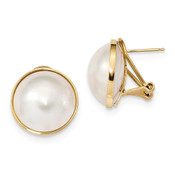 14k Yellow Gold 14-15mm White Mabe Freshwater Cultured Pearl Omega Back Earrings XMP98-Lex and Lu