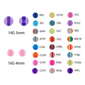 Lex and Lu Pair of Acrylic UV Sensitive Layered Threaded Replacement Balls 16&14