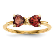 14k Gold Polished Garnet Bow Ring Size 7 XBS512-Lex and Lu