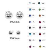 Lex and Lu Pair of Steel Threaded Replacement CZ Gem Balls 16&14 Gauge