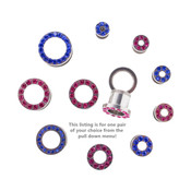 "Lex and Lu Pair of Steel Threaded Tunnel Plugs w/Colored Gems 10G Thru 1/2"""