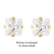 Studex STUDEX Sensitive Stainless Steel 7x7 Princess Cut CZ G/P Fashion Earrings 748S-2