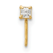 14k Yellow Gold 22 Gauge 2.5 mm Square CZ Nose Stud BD111-Lex and Lu