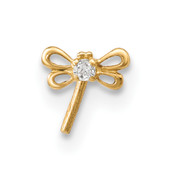 14k Yellow Gold 22 Gauge CZ Butterfly Nose Stud BD121-Lex and Lu