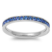 Lex and Lu 3mm Stainless Steel Blue CZ Eternity Comfort Fit Band Ring Size 3-9