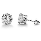 Lex and Lu Pair of Stainless Steel Round Clear CZ Stud Earrings Pierced 3,5,7 & 9 mm