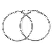 Lex and Lu Pair of Stainless Steel 2mm Hoop Earrings Pierced 25, 30, 40, 50, 60 and 70mm
