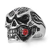 Lex and Lu Men's Fashion Stainless Steel Skull Biker Ring w/Red Rose in Mouth