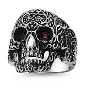 Lex and Lu Men's Fashion Stainless Steel Skull Biker Ring w/Red Gem Eyes