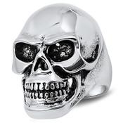 Lex and Lu Men's Fashion Stainless Steel Skull Biker Ring w/Black Eyes