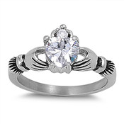 Lex and Lu Ladies Fashion Stainless Steel Claddagh Ring w/Gem heart