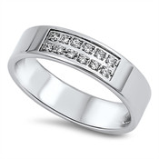 Lex and Lu Ladies Fashion Stainless Steel Ring w/2 Rows Of Gems