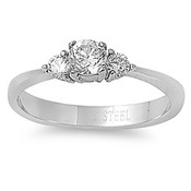 Lex and Lu Ladies Fashion Stainless Steel Ring w/ 3 Gems