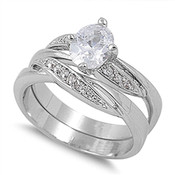 Lex and Lu Ladies Fashion Stainless Steel Wedding Set Rings w/ Oval Gem and Round Side