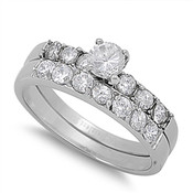 Lex and Lu Ladies Fashion Stainless Steel Wedding Set Rings w/ Circle Gem and Round Side Gems