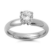 Lex and Lu Ladies Fashion Stainless Steel Ring w/ Clear Gem And 4mm Band