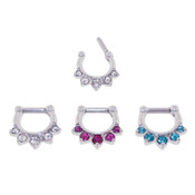 Lex and Lu Set of 3 - Steel CZ Gem Septum Clicker Nose Ring Hoops 16 or 14 Gauge SCG001