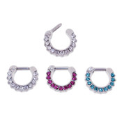 Lex and Lu Set of 3 - Steel CZ Gem Septum Clicker Nose Ring Hoops 16 or 14 Gauge SCG007
