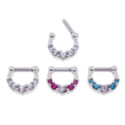 Lex and Lu Set of 3 - Steel CZ Gem Septum Clicker Nose Ring Hoops 16 or 14 Gauge SCG013