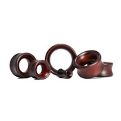 Lex and Lu Pair of Double Flare Lotus Wood Organic Ear Plug Tunnels Brown