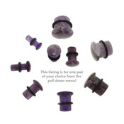 Lex and Lu Pair of Single Flare Genuine Amethyst Stone Organic Ear Plugs-4
