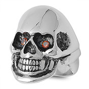 Lex and Lu Men's Fashion Stainless Steel Skull Biker Ring w/2 Red Gem Eyes