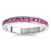 Lex and Lu 3mm .925 Sterling Silver Rose Pink CZ Eternity Comfort Fit Band Ring Size 5-9