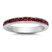 Lex and Lu 3mm .925 Sterling Silver Dark Red CZ Eternity Comfort Fit Band Ring Size 5-9